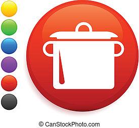 ボタン, アイコン, ラウンド, 沸騰の鍋, インターネット