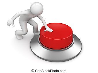 ボタン, アイロンかけ, 赤, 緊急事態, 人