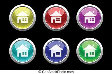 ボタン, 家, 黒, プラスチック