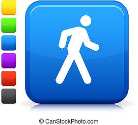 ボタン, 広場, アイコン, インターネット, 歩きなさい