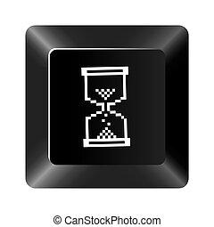 ボタン, 砂時計, 黒, アイコン