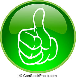 ボタン, 緑 親指, の上