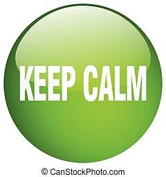 ボタン, 隔離された, たくわえ, 緑, 冷静, 押し, ラウンド, ゲル