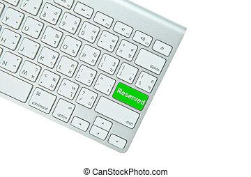 ボタン, 隔離された, コンピュータ, 緑の背景, キーボード, はい, 白