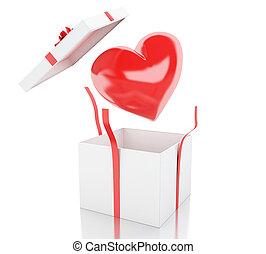 ボックスオープン, heart., 贈り物, 3d