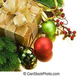 ボーダー, 隔離された, クリスマスの 装飾, design., 白