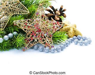 ボーダー, 隔離された, クリスマス, デザイン, 装飾, 白