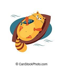 ボート, ベクトル, 抱き合う, ねこ, fish., イラスト