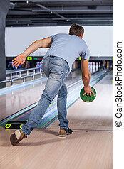 ボーリング競技者, 試み, 取得, bowling., ピン, 残留する, から