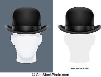 ボーリング競技者, illustration., クラシック, 型, ベクトル, hat.