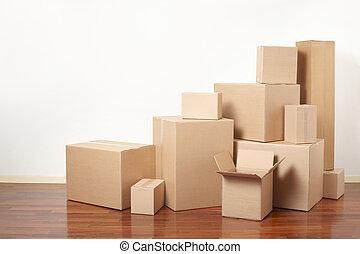 ボール紙, 移動の日, 箱