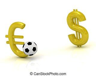 ボール, に対して, ドル, ユーロ, サッカー