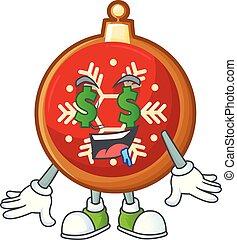 ボール, クリスマス, お金, character., 漫画, 目, 赤