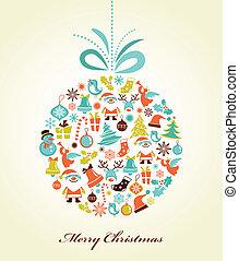 ボール, クリスマス, クリスマス, 背景, レトロ