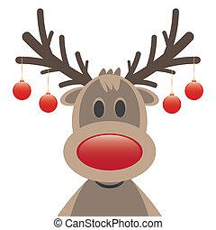 ボール, クリスマス, 鼻, 赤, トナカイ
