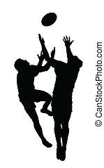 ボール, シルエット, フットボール, -, 高い跳躍, 捕獲物, ラグビー, スポーツ