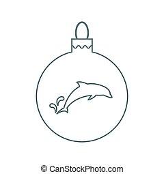ボール, シルエット, 線である, イルカ, クリスマス, ベクトル, 最新流行である, style., アイコン