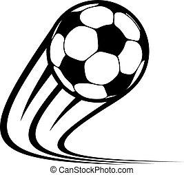 ボール, ズームする, 飛行, 空気, によって, サッカー