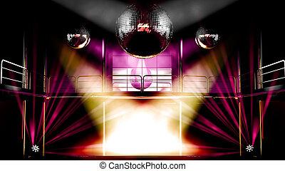 ボール, ディスコ, カラフルである, クラブ, ディスコライト, 夜