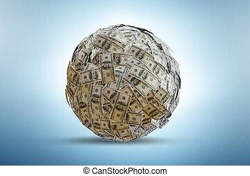 ボール, ドル, -, レンダリング, 100-dollar, 紙幣, 3d