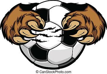 ボール, ベアークロー, サッカー, ベクトル