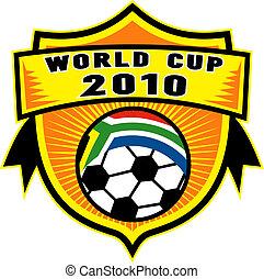 ボール, 保護, カップ, 中, アフリカ, 旗, 共和国, 世界, サッカー, 2010, 南, アイコン