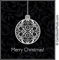 ボール, 型, 黒, 掛かること, 白い クリスマス, カード