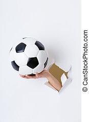 ボール, 手, ペーパー, によって, 穴, サッカー