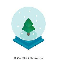 ボール, 木, 雪, ガラス, クリスマス, アイコン