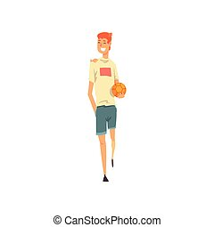 ボール, 若い, イラスト, 朗らかである, ベクトル, 衣服, 偶然, 人