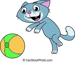 ボール, 遊び, 子ネコ