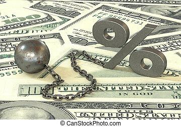 ボール, 鎖, シンボル, パーセント, 紙幣, バックグラウンド。, 袖口, 鉄, 掛かること, ドル, さび