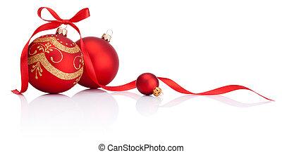 ボール, 隔離された, 弓, 装飾, リボン, 背景, 白い クリスマス, 赤