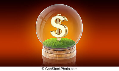 ボール, rendering., ドル, 内側。, 印, 球, 透明, 3d