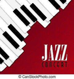 ポスター, ピアノ, ジャズコンサート, 背景