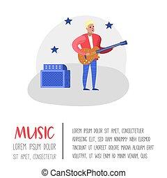 ポスター, 道具, banner., ジャズ, イラスト, ギター, ベクトル, 音楽プレーヤー, musician., ミュージカル, コンサート