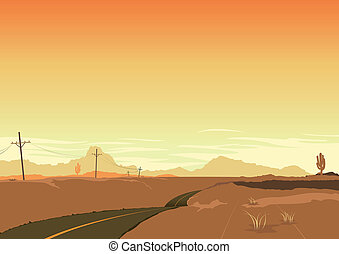 ポスター, 風景, 砂漠, 背景