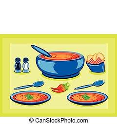ポット, スープ, プレート, 料理, 大きい