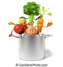 ポット, フルである, 野菜