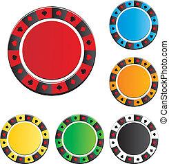 ポーカー, ベクトル, チップ, セット
