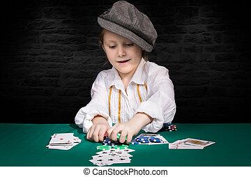 ポーカー, 勝たれた, 子供