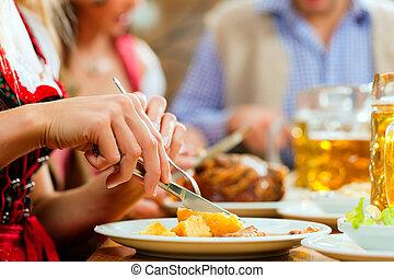 ポーク, 食べること, レストラン, ババリア人, 人々, 焼き肉