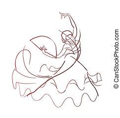 ポーズを取りなさい, ダンサー, フラメンコ, 意味深長, 図画, ジェスチャー