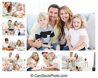 ポーズを取る, 瞬間, 商品, 出費, コラージュ, 一緒に, 家 家族