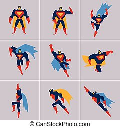 ポーズを取る, superhero, 別, action., シルエット
