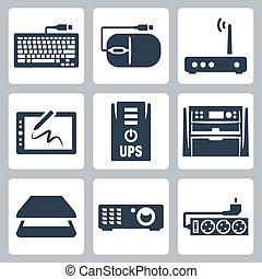 マウス, プロジェクター, ベクトル, アイコン, ∥上げる∥, タブレット, 走査器, multifunction, サージ, モデム, 装置, ハードウェア, コンピュータ・グラフィックス, キーボード, フィルター, set: