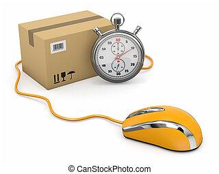 マウス, package., 急行, delivery., オンラインで, ストップウォッチ