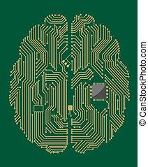 マザーボード, 脳, チップ, コンピュータ