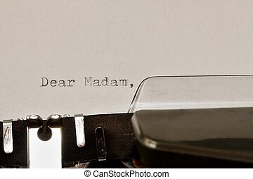 マダム, 古い, タイプされる, テキスト, 親しい, タイプライター