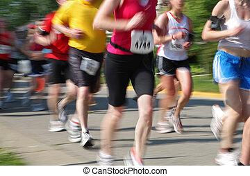 マラソン, ある, 動き, カメラ, 数, 持ちなさい, チャン, ランナー, (in, blur)